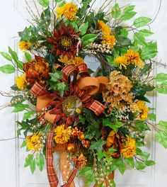 XL Door Wreath Fall is in the Air  filled to the by LadybugWreaths, $179.97