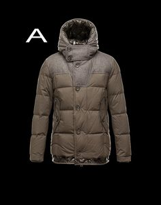 Moncler Pyrenees Men Technical Fabric Flannel Insets Coat White For Sale