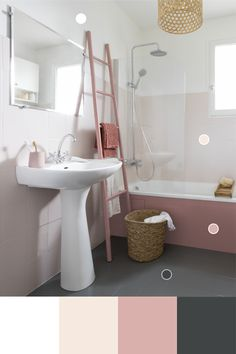 A shades of pink embellished with a deep gray will offer your bathroom . White Vanity Bathroom, Master Bathroom, Wc Retro, Bathroom Design Small, Dining Room Design, Bathroom Flooring, Interior Inspiration, Room Decor, Pink