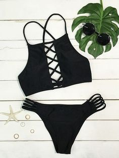 Hello, hottie! Make everyone jealous of how amazing you look in this Black Lace Up Bikini ! Hot sale at $18.99 !Stunning and comfortable all at the same time. Get more chooses at Cupshe.com !