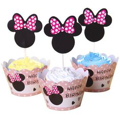 BETOP HOUSE Set of 1 Dozen Mickey Mouse Minnie Cupcake Mufiin Wrappers Toppers Kit for Kids Birthday Party Baby Shower (Minnie) -- Final call for this special discount  : Baking desserts tools