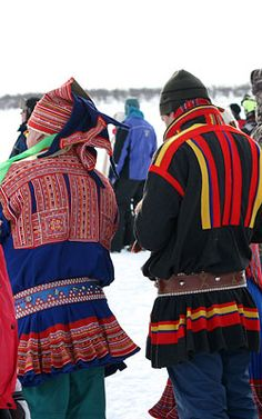 Traditional Sami clothing. The people of Lapland are called Sami.