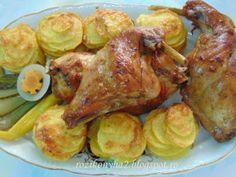 Rozi erdélyi,székely konyhája: Fokhagymás nyúlsült, sütőzacskóban sütve Turkey, Meat, Chicken, Food, Meals, Cubs