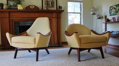 (New Upholstery!) Mid Century Adrian pearsall Craft Associates Lounge Chairs