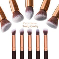 Amazon.com : Party Queen Makeup Brush Set Classic 10Pcs Rose Golden Kabuki Brush with Luxury Pouch : Beauty