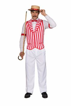 Travel back to the barbershop revival era in uniform with our adult Barber Quartet Vest. The iconic barbershop quartet uniform generally consisted of a boater hat, moustache, bowtie and striped vests