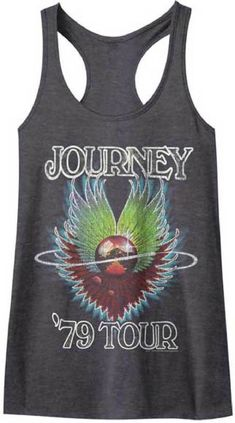 766b231a49427 Journey 1979 Tour Women s Charcoal Gray Vintage Concert Tank Top T-shirt  Journey Concert