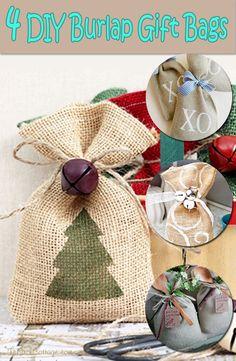 Diy Burlap Bags, Burlap Favor Bags, Hessian Bags, Burlap Crafts, Burlap Fabric, Christmas Gift Bags, Burlap Christmas, Christmas Crafts, Fabric Gift Bags