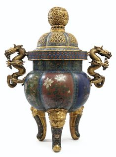 A LARGE GILT-BRONZE AND CLOISONNÉ ENAMEL CENSER AND COVER, CHINA, QING DYNASTY, THE COVER QIANLONG PERIOD (1736-1795), THE CENSER JIAQING PERIOD (1796-1820)