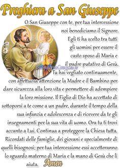 Preghiera a San Giuseppe - BuongiornoConGesu. Prayers, Names, Christmas, Christ, Mother Teresa, Photos, Magnifying Glass, Navidad, Weihnachten