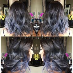 """Jenn Shin on Instagram: """"Created a smokey ash ombre for one of my clients  The darker blue pieces will fade to a beautiful ash blonde and will create that nice three-dimensional look  Used a dark charcoal color for the roots and blended it down. Used all @wellaeducation @wellahair for this color! #Bescene #jennshinhair #thejennshin"""""""