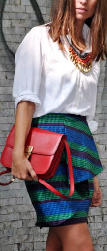 White oxford, colorful statement necklaces, blue/green/black stripe peplum skirt