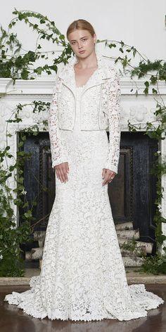 ad3760ac342d2 monique lhuillier wedding dresses 2018 sheath jacket with cut out lace  Designer Wedding Dresses, Wedding