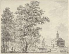 Hermanus Petrus Schouten | De Muiderpoort te Amsterdam, Hermanus Petrus Schouten, 1757 - 1769 | De Muiderpoort te Amsterdam, gezien vanaf de Plantage. In welstand vóór de verzakking in de nacht van 29 op 30 januari 1769.
