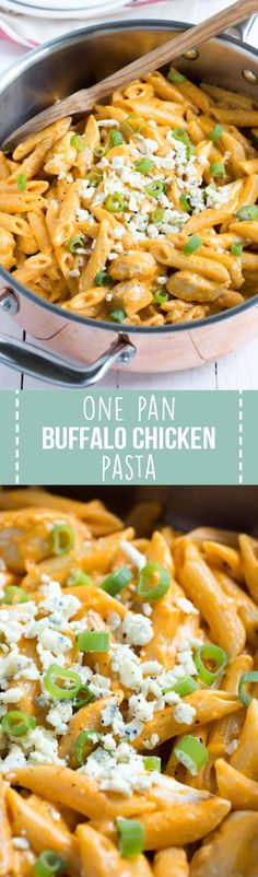 Chicken, pasta, buffalo sauce and blue cheese dressing combine to create a dish loaded with buffalo chicken flavor. One Pan Buffalo Chicken Pasta is an easy meal that the entire family will love!