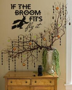 """If The Broom Fits Fly It"" Halloween vinyl lettering decal home decor @Lacy Beckstrom Bella"