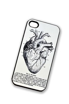 iPhone Case Medical Heart Vintage Diagram iPhone Hard Case / Fits Iphone 4, 4S