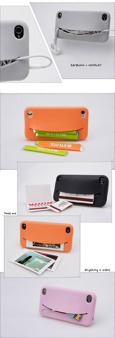 FeedMe: storage iPhone case Probably not that secure, and would be bulky when you put stuff in it. But it's cute :)