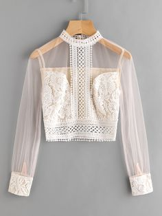 Band Collar Mesh Sleeve Lace Top -SheIn(Sheinside) - Band Collar Mesh Sleeve Lace Top -SheIn(Sheinside) Source by sabaaydini - Girls Fashion Clothes, Teen Fashion Outfits, Girl Fashion, Casual Outfits, Clothes For Women, Fashion Design, Jugend Mode Outfits, Lace Tops, Lace Collar