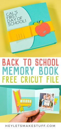 Remember your child's first day of school with this back to school memory book, made with your Cricut! Get the free files to make this adorable memory book, then capture this moment and time and remember it forever! 1st Day Of School Pictures, First Day Of School, School Days, School Scrapbook Layouts, Scrapbooking Layouts, Back To School Crafts, School Memories, Memory Books, Creative Crafts