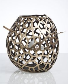 David Wiseman, Unique large Lattice vase containing a branch with bird and blossoms (2012), via Artsy.net