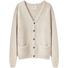 La Garçonne Moderne Sylvia Alpaca Handknit Cardigan ($445) ❤ liked on Polyvore featuring tops, cardigans, sweaters, outerwear, chunky cardigan, cream long sleeve top, v neck cardigan, cream cardigan and button front tops