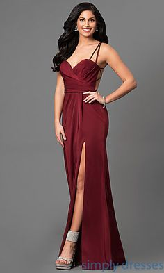 Long Ruched-Bodice Prom Dress by La Femme