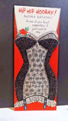 SEXY die-cut lace and black glitter corset with a humorous dialog. Unsigned card by Hallmark - No envelope. | eBay!