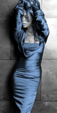 Blue Hair Dye, Lipstick, Gloves, Blue Blush Over Skin And Blue Glitter, Then Do The Dead Look On Eye Makeup.g.