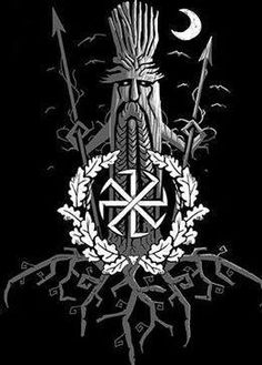 The oak tree the symbol of the Aelic gods, spear in each hand defending the shrines and groves. Norse Pagan, Norse Mythology, Vikings, Slavic Tattoo, Ancient Greek Religion, Viking Designs, Asatru, Celtic Art, Symbolic Tattoos