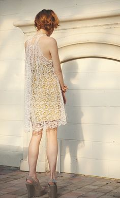 Cream & Off White Cotton Lace Sheer Overlay Dress by dressmitra, $288.00