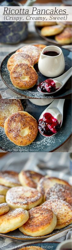 Ricotta Pancakes - Crispy on the outside, creamy on the inside it's hard to stop with just one. Paired with some sour cream and jam, you've got breakfast fit for a queen! By Let theBakingBeginBlog.com - @Letthebakingbgn