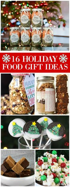 16 Holiday Food Gift Ideas (recipes included!): soup mix in a jar, cookies in a jar, fudge, cookies, oatmeal in a jar, gingerbread granola and more!