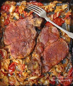 The home flavors: pork pan Letcho Breakfast Lunch Dinner, Breakfast Recipes, Meat Recipes, Chicken Recipes, Food 52, Pork, Food And Drink, Paleo, Snacks