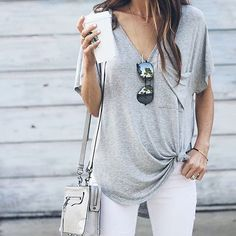 grey pocket tee + white jeans - Street Fashion, Casual Style, Latest Fashion Trends - Street Style and Casual Fashion Trends Look Fashion, Spring Fashion, Autumn Fashion, Womens Fashion, Fashion Styles, Fashion Trends, Fashion Inspiration, Gents Fashion, Cheap Fashion