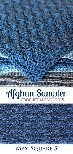 Solid Scallop: Square 5 (May) of the 2015 Afghan Sampler -- Crochet along and have a finished blanket at the end of the year.  The Inspired Wren