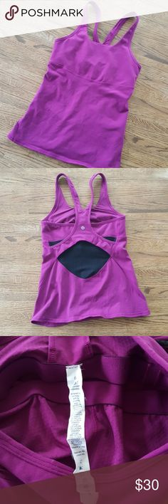 "Lululemon Tank Top Lululemon tank top in purple/ pink fuschia color. Size 6, in gently used condition, no flaws noticed.  Approximate measurements  Bust across 12.75"" (stretchy) Length 22.5"" lululemon athletica Tops Tank Tops"