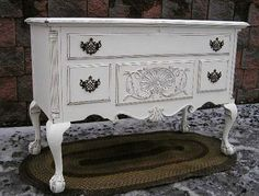 Shabby White Chic Cottage Chest Trunk TV STAND Table