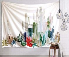 Cactus wall tapestry - dorm room tapestry