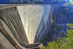 Embankment dam in Valle Verzasca, Switzerland, Canton Ticino