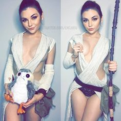 Rey and a porg lol by Catjira