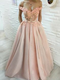 Buy Ball Gown Off-the-Shoulder Pearl Pink Tulle Appliques Prom Dress with Flowers , from for $309.99 only in Main Website.