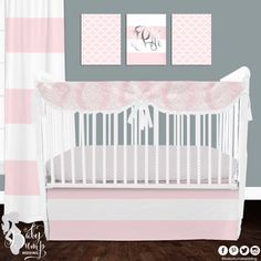 Bella sweet Bella (pink) baby bedding. |Pale| pink crib bedding is never a |fail|.