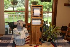 Handmade Wood toilet paper stand and holder with storage