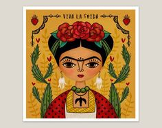 Yesterday was one of those days when I hit a creative brick wall and nothing worked. I really dislike those days. 😡 So once again, I walked…I needed another Frida fix. Mexican Artists, Mexican Folk Art, Kahlo Paintings, Frida And Diego, Frida Art, Frida Kahlo Artwork, Art Plastique, Fine Art Paper, Pop Art