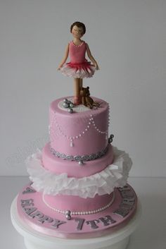 Celebrate with Cake! Dance Cakes, Ballet Cakes, Ballerina Cakes, Ballerina Birthday Parties, Ballerina Party, 2nd Birthday, Birthday Ideas, 2 Tier Cake, Tiered Cakes