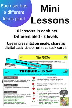 Parts of speech, reading strategies, psychology for character analysis, figurative language... these mini lessons are a fun way to cover all the 'glue' - the vital things students need to understand in English.  The 'glitter' is a dabble in something uplifting about our planet!  A PowerPoint presentation providing notes, differentiated activities and answers, is also available as digital activities for homework or classwork.  It can also be printed out as task cards.  Students LOVE them! Literacy Strategies, Reading Strategies, Parts Of Speech, Figurative Language, Home Schooling, Differentiation, Task Cards, Learning Activities, Starters