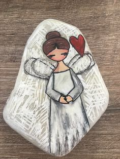 Angel stone painting – Home Decoration