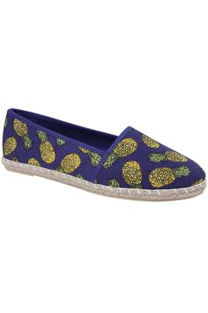 Blue Pineapple Print Canvas Espadrille Pump