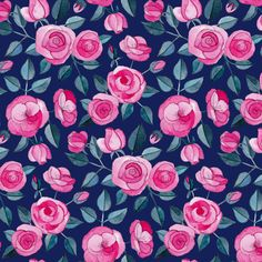 Pink Watercolor Roses on Dark Blue Purple fabric by micklyn on Spoonflower - custom fabric